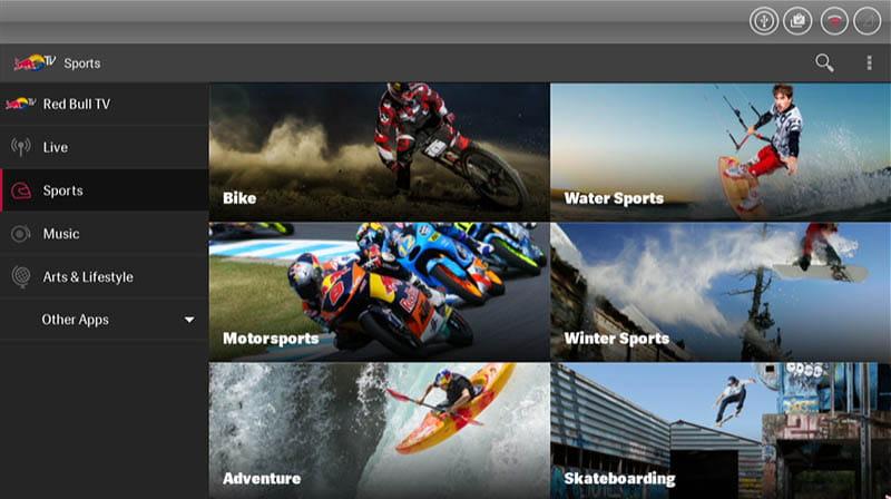 Przykładowa aplikacja Red Bull TV
